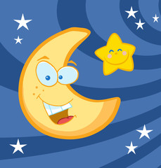 Smiling Moon And Star Cartoon Characters