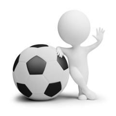 3d small people - soccer player with the big ball