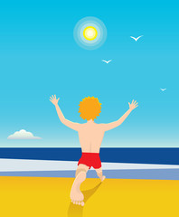 Young man at the seaside. Vector illustration