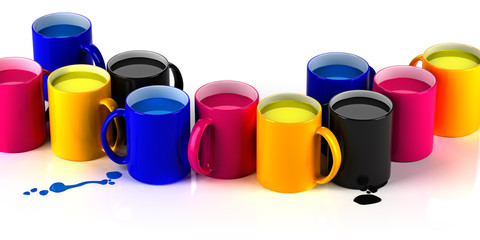 CMYK mugs lineup.