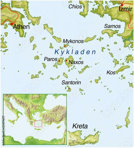Kykladen Karte.Kykladen Griechenland Landkarte Stockfotos Und Lizenzfreie Bilder