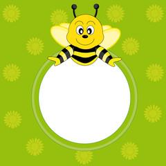 Tarjeta postal marco abeja