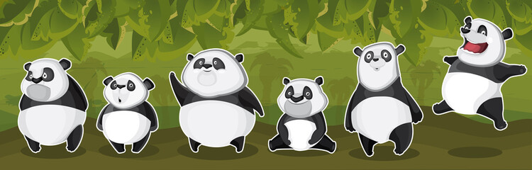 Keuken foto achterwand Retro sign Pandas in the jungle