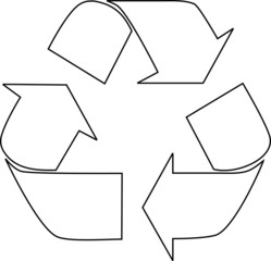 black outline recycle sign
