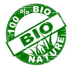 vignette 100 % nature bio avec rayures une couleur verte