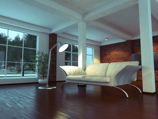Modern empty interior with plant and sofa