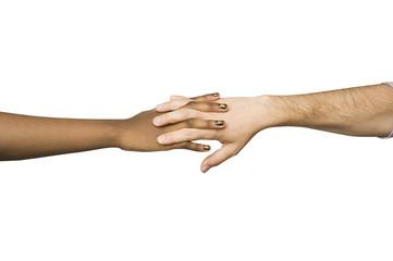 Se lier - mains noire et blanche