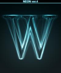 Glowing neon font. Shiny letter W