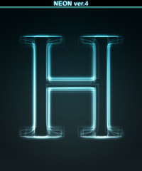 Glowing neon font. Shiny letter H