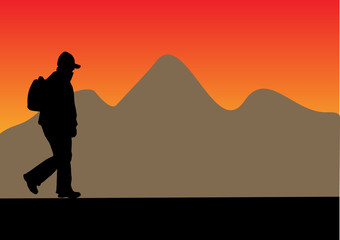 silhouette with backpack