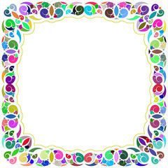 White and multicolored tropical framework