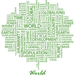 WORLD. Word cloud concept illustration.