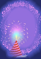 Illustration of fire work with design background