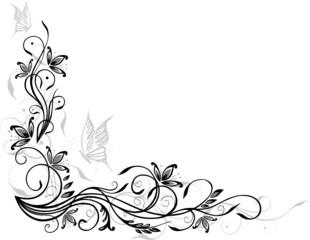 Ranke, floral, filigran, Blumen, Blätter, grau, schwarz