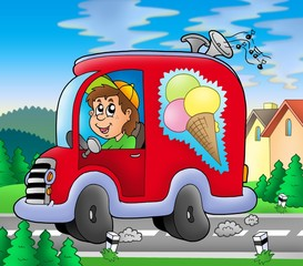 Printed roller blinds Cars Ice cream man driving red car