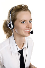 Young blond beautiful girl with headphones.