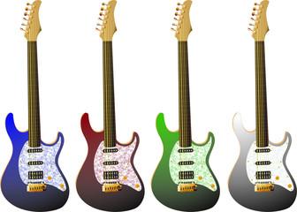 E-Gitarren in verschiedenen Farben