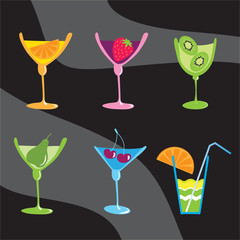 goblet with different fruits