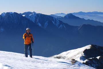 mountaineer hiking on snow in Taroko national,Taiwan,asia.