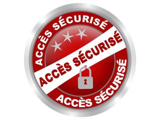 accés sécurisé bouton web rouge effet gel
