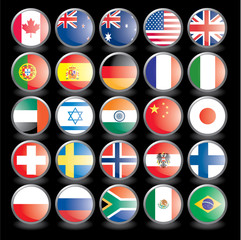 Web buttons with flags on black background. eps 10.