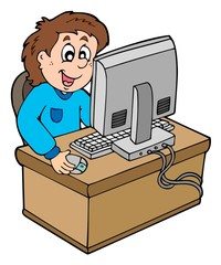Cartoon boy working with computer