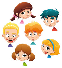 Set of different character expressions. Vector illustration.