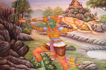 art painting on wall, Wat Huanathai,  Borabue, Mahasarakam