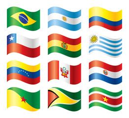 Wavy flags set - South America