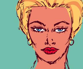 Woman portrait pinup retro card