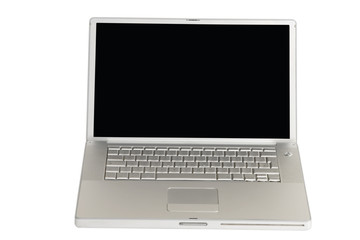front view of silver laptop