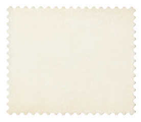 Blank post aged stamp isolated on white. Scanned, With clipping