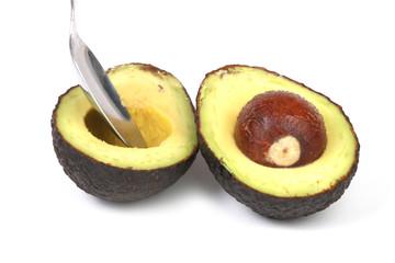closeup photo of avocado fruit on a white background
