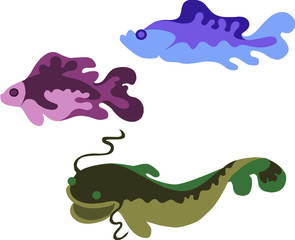 colored vector illustration of three fishes
