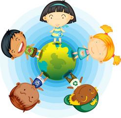 Childrens Standing Round the Globe
