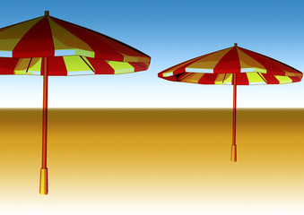 sketched illustration of two beach umbrellas