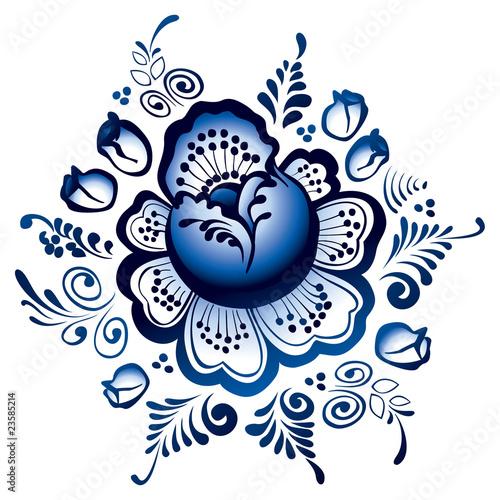 Рисунки цветов из гжели 94