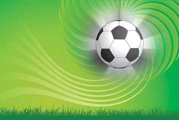 Soccer ball and green design background