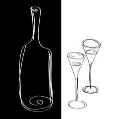 Bottle with two glasses