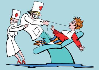 врач вырывает больной зуб