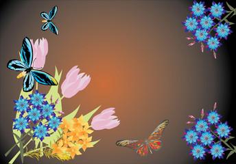 flower and blue butteflies on dark background
