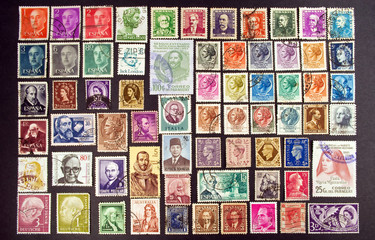 Faces on stamps
