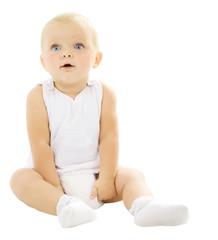 Sitting Baby Girl over white