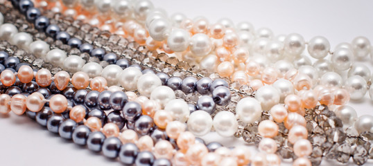 pearls, plastic and glass jewelry