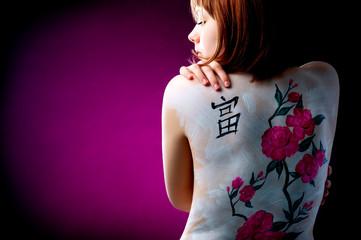 The girl and cherry tree  (body art)