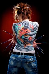 The girl and the red carp (body art)