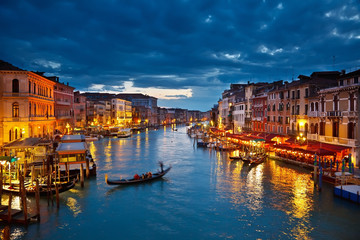 Foto op Canvas Venice Grand Canal at night, Venice