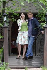 Couple on wooden bridge
