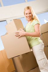 Happy woman with boxes