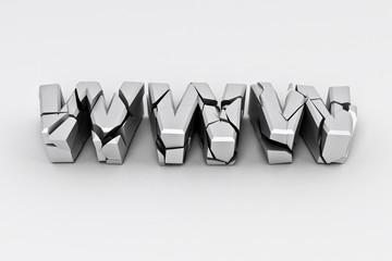 Broken silver www  sign